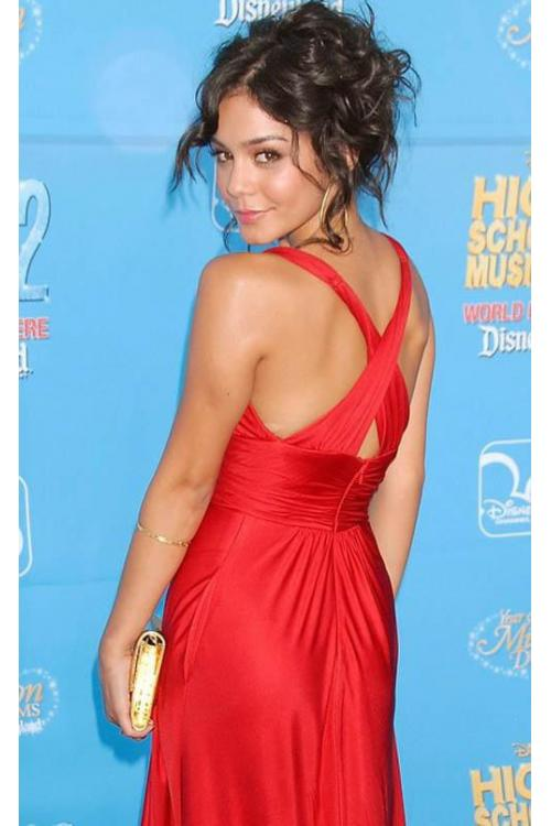 Vanessa Hudgens Red High School Musical Celebrity Dressed V Neck Red Carpet Dress