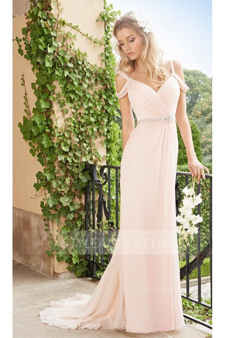 Chic Off the Shoulder Pleated Sheath LOng Chiffon Prom Dress