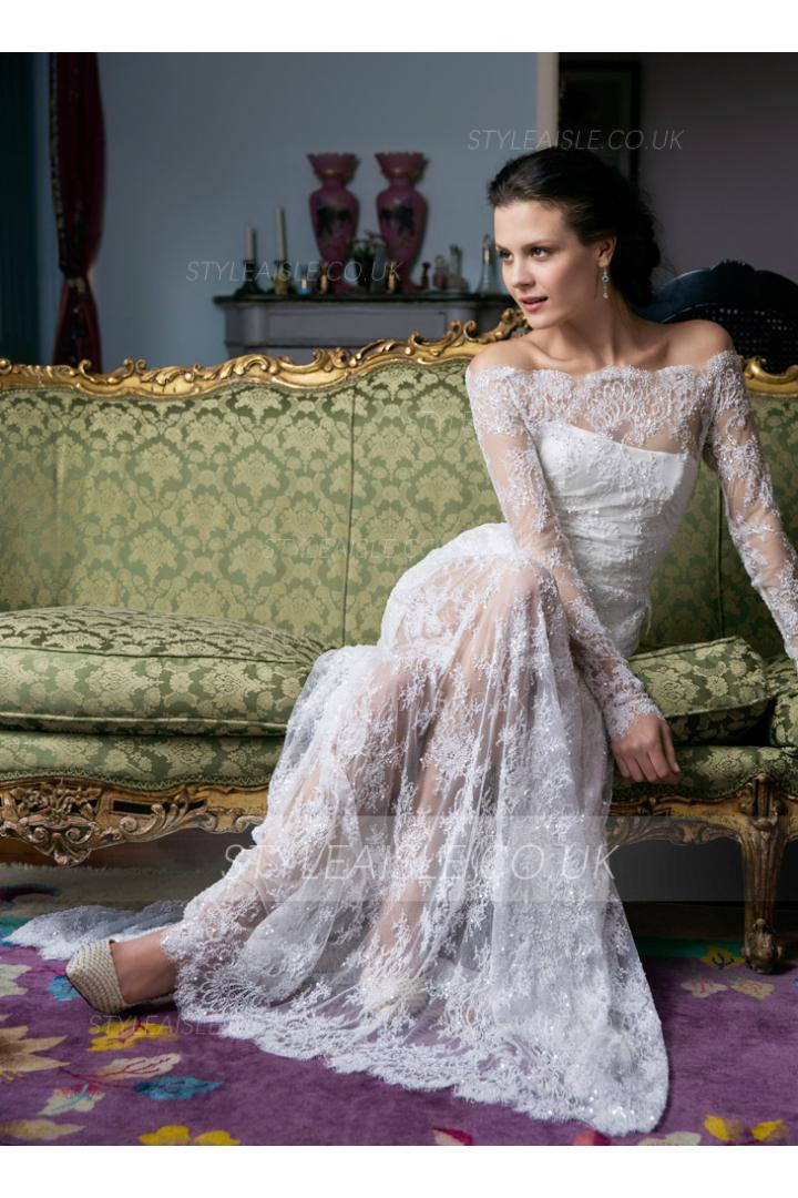 Exquisite Long Sleeves A-Line Lace Wedding Dress with Button Back