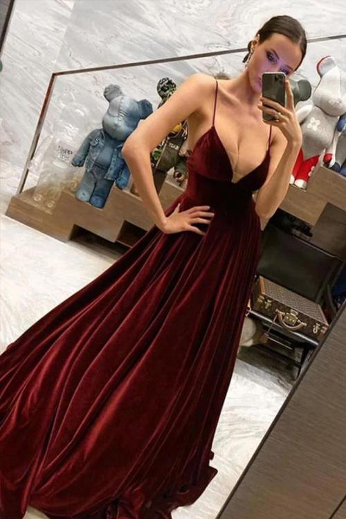 Sexy A-line Spaghetti Straps Sleeveless Floor-length Long Velvet Prom Dresses
