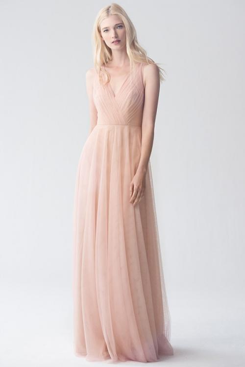 Blush Sleeveless V Neck A-line Tulle Bridesmaid Dress
