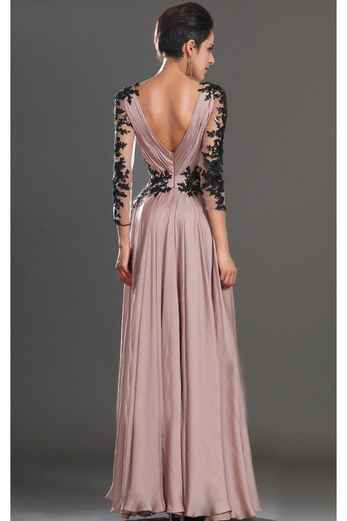 Sexy Long Sleeved Lace Long Dusty Pink Chiffon Prom Dress