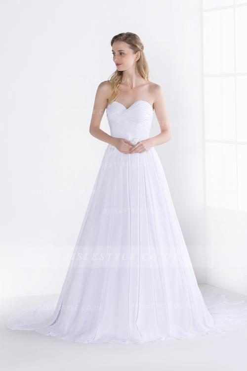 Simple Long White Chiffon Pleated Bodice Sweetheart Long Chiffon Wedding Dress