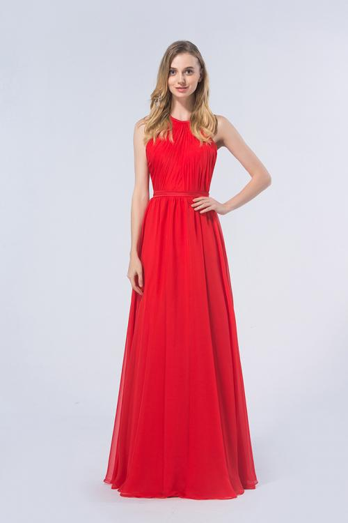 Red A-line Halter Sleeveless Long Red Chiffon Bridesmaid Dress