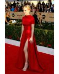 Anna Faris SAG Stuart Weitzman Short Sleeve A-line Split Long Red Satin Prom Dress