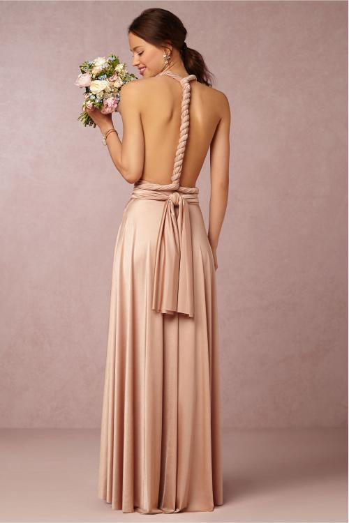 Convertible Pleated Shoulder Strap Long Silk Satin Bridesmaid Dress