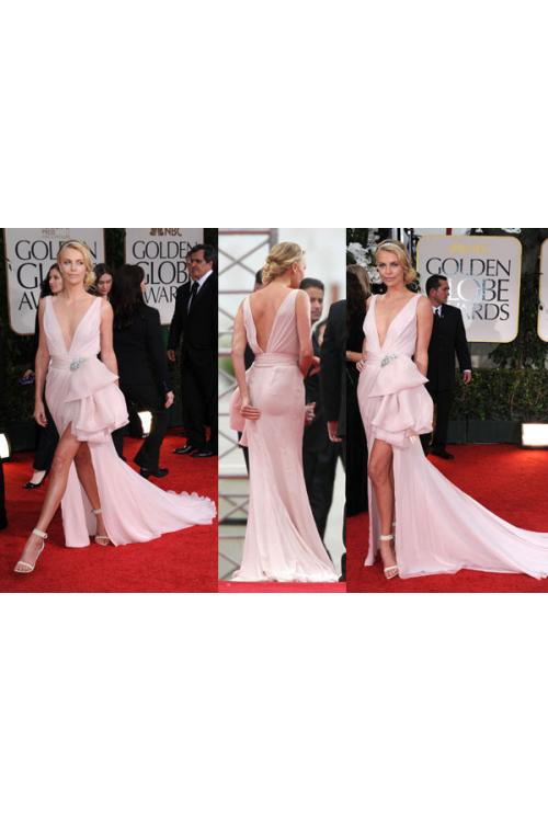 Fit Flared Deep V-neck Sleeveless Bow(s) Split Long Charlize Theron Golden Globes Red Carpet Dress