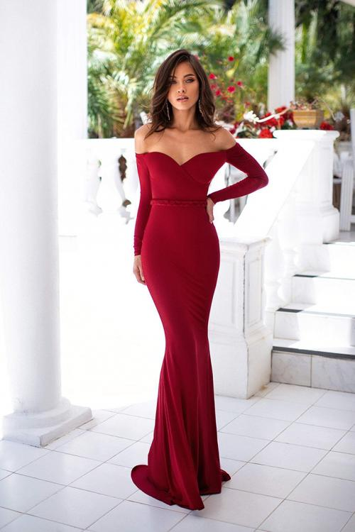 Sheath/Column Off-the-shoulder Long Sleeve Floor-length Long Jersey Evening Dresses