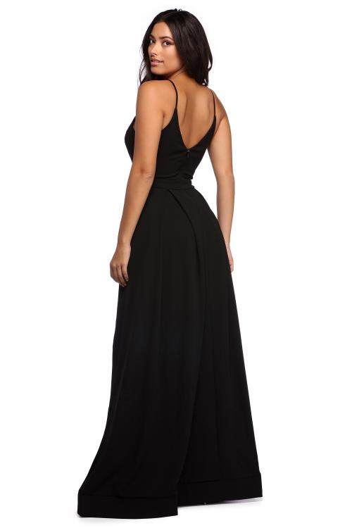 Black Simple Spaghetti Straps Long A-line Satin Chiffon Prom Dress