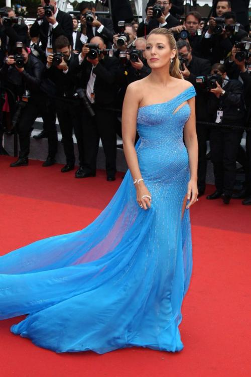 Blake Lively Pool Blue One Shoulder Sequin Long Tight Chiffon Prom Dress