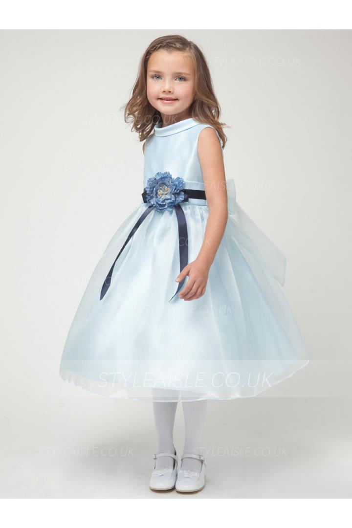 Ice Blue Sleeveless Organza Flowergirl Dresses