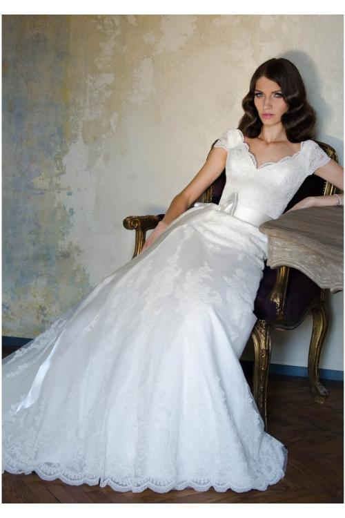 Elegant A-line V-neck Lace Sashes/Ribbons Sweep/Brush Train Wedding Dress