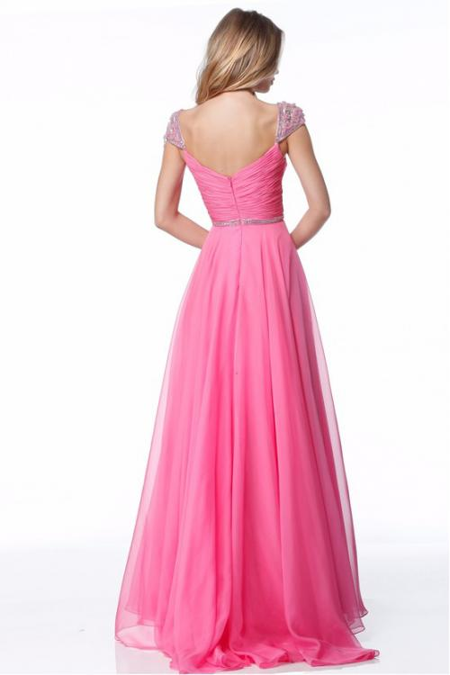 Crystal Beaded Cap Sleeves A-line Long Chiffon Prom Dress