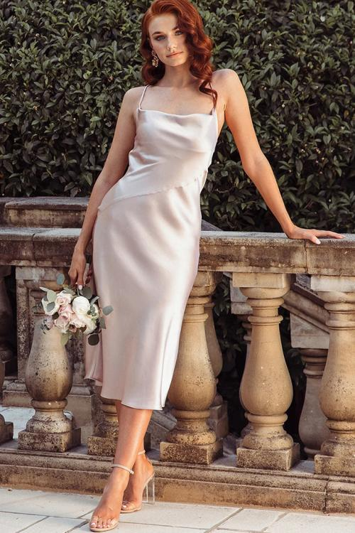 Blush Pink Spaghetti Straps Sleeveless Tea-length Long Charmeuse Bridesmaid Dress