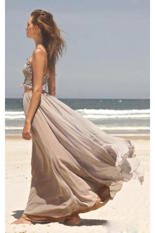 Boho Chic Two Piece Long A-line Chiffon Vintage Bridesmaid Dress