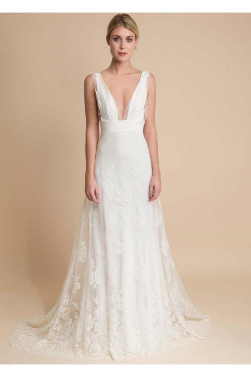 Sexy Ivory A-line Deep V-neck Sleeveless Lace Sweep Train Long wedding dresses