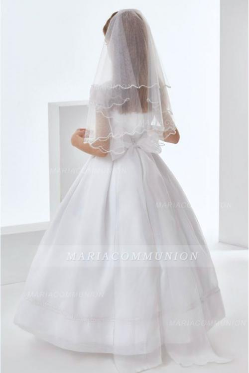 Exquisite Short Sleeve Bow(s) Lace Sashes/Ribbons Floor-length Long Organza Communion Dresses