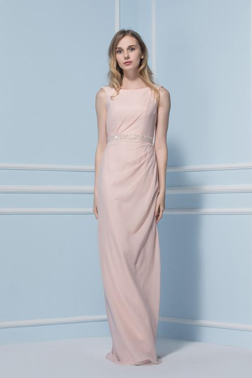 Scoop Neck Sleeveless Sheath Pearl Pink Chiffon Bridesmaid Dress with Crystal Band