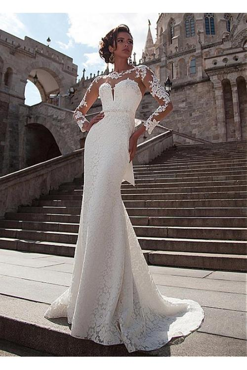 Exquisite Lace Long Sleeve Bodyhug Wedding Dress
