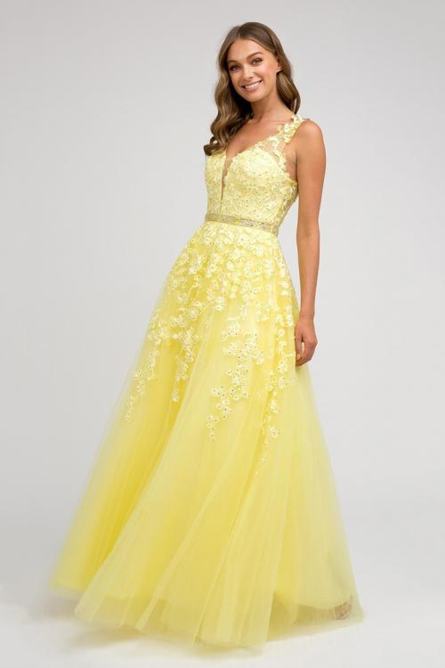 A-line V-neck Sleeveless Lace Appliques Beading Tulle Floor-length Tulle Prom Dress