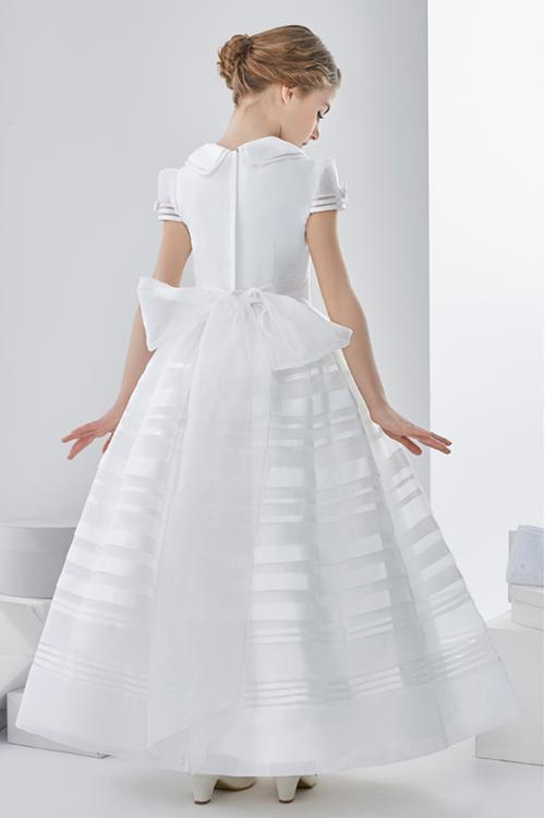 Ball Gown High Neck Short Sleeve Bow(s) Floor-length Organza Communion Dress