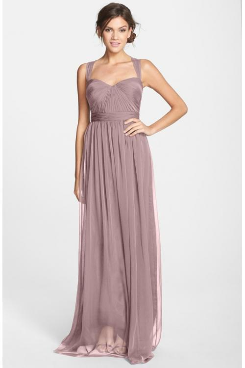Vintage Shoulder Straps Pleated Long Chiffon Bridesmaid Dress
