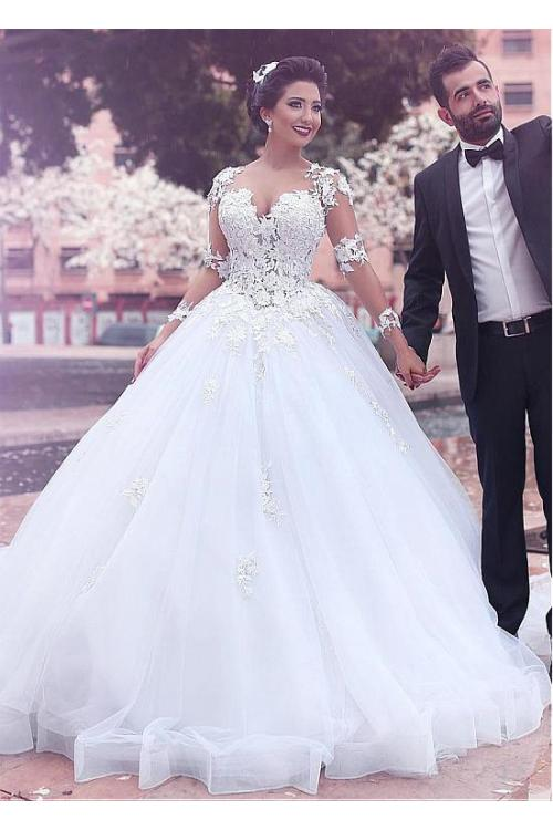 Lace Sleeves Long Ball Gown Tulle Wedding Dress
