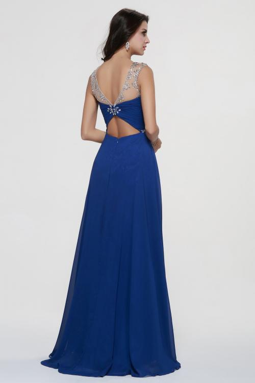 Illusion Neck A-line Long Royal Blue Chiffon Prom Dress
