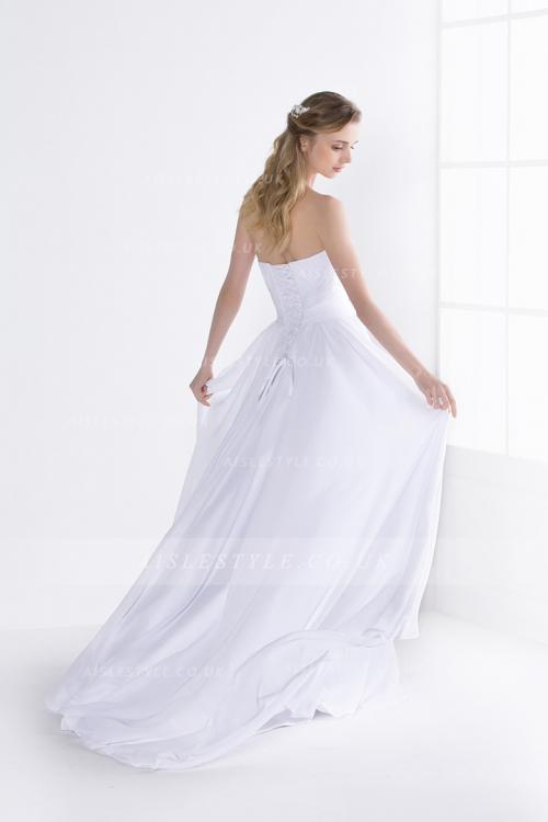 Simple Strapless Sweetheart Pleated Bodice Higjh Split Long Chiffon Wedding Dress