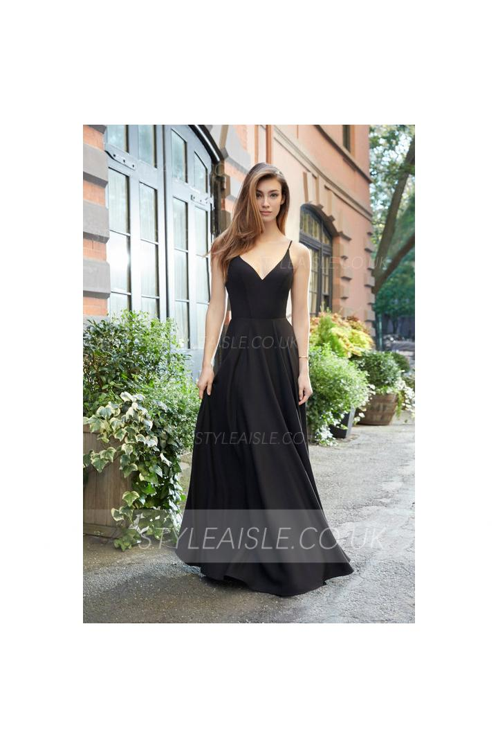 Slim Spaghetti Straps Long A-line Black Bridesmaid Dress