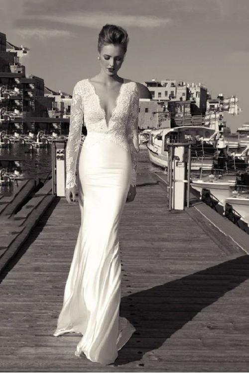 V Neck Lace Bodice Long Sleeve Chiffon Wedding Dress