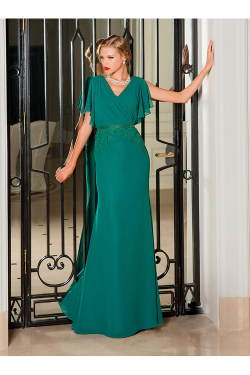 Flutter Short Sleeve Jade Long Chiffon Formal Evening Dress with Lace