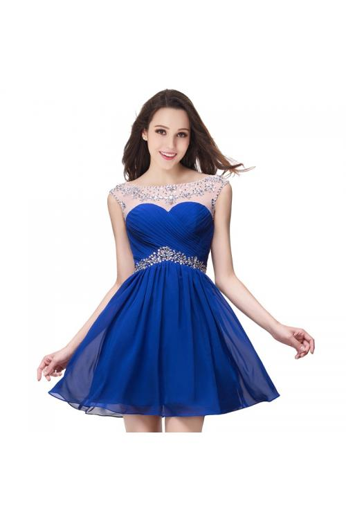 Fashion Cap Sleeved Crystal Detailling Short A-line V Back Chiffon Prom Dress