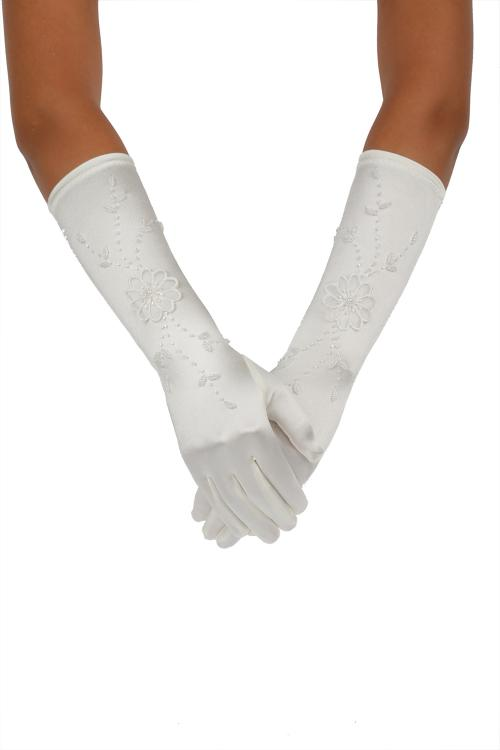 Long Ivory Gloves With Little Pearl Diamond Embroider 8BL