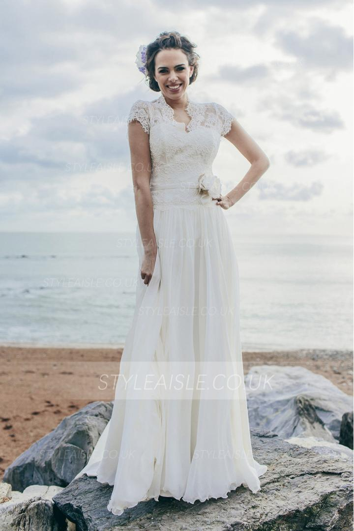Short Sleeve V Neck A-line Long Chiffon Wedding Dress with Flower