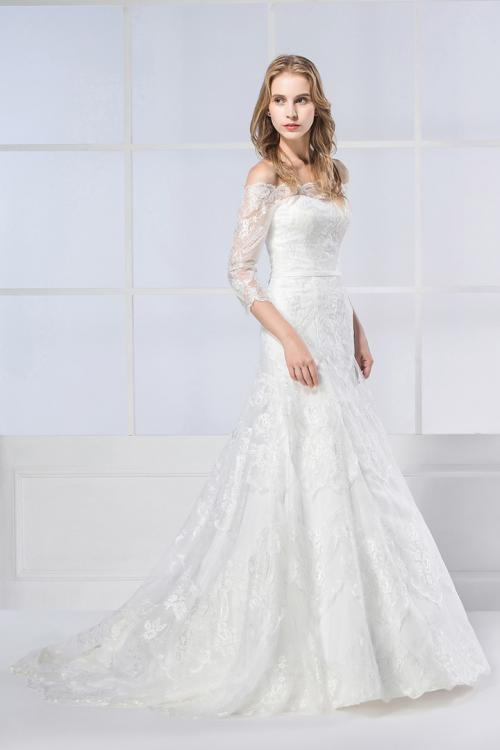 A-line Off-the-shoulder Half Sleeve Lace Sweep/Brush Train Wedding Dresses