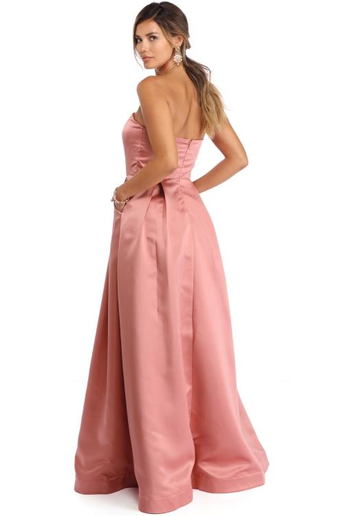 Strapless Ball Gown Long Satin Prom Dress with Pocket