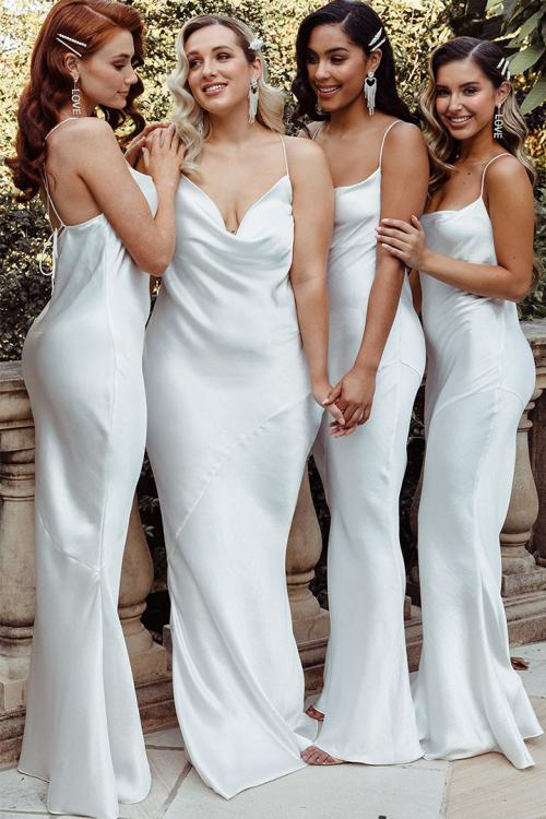 Sheath/Column Spaghetti Straps Sleeveless Floor-length Long Charmeuse Bridesmaid Dress