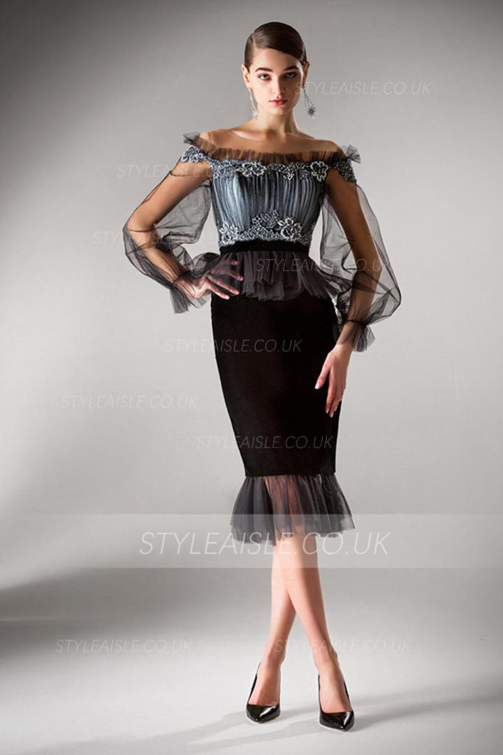 Bateau Neckline Long Sleeves Beading Lace Top Ruching Knee-length Short Tulle Cocktail Dress wth Split Back