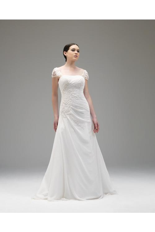 Elegant A-line Straps Lace Ruching Floor-length Chiffon Wedding Dresses