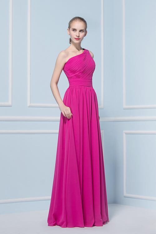 A-line One Shoulder Sleeveless Pleated Long Bridesmaid Dress
