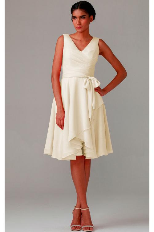 Knee-length V-neck Natural Chiffon A-line Bridesmaid Dresses