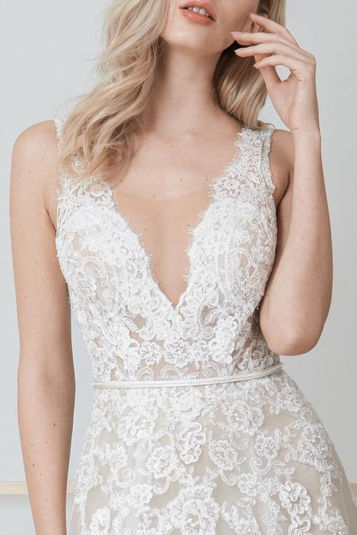 A-line V-neck & Mesh Neckline Sleeveless Court Train Long Wedding Dresses with Removable Beading Sash (Picture shown - Champagne lining & Ivory Lace)