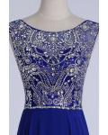 Royal Blue Scoop Neck Sleeveless Beading Floor length Long Chiffon Prom Dress with A V-back