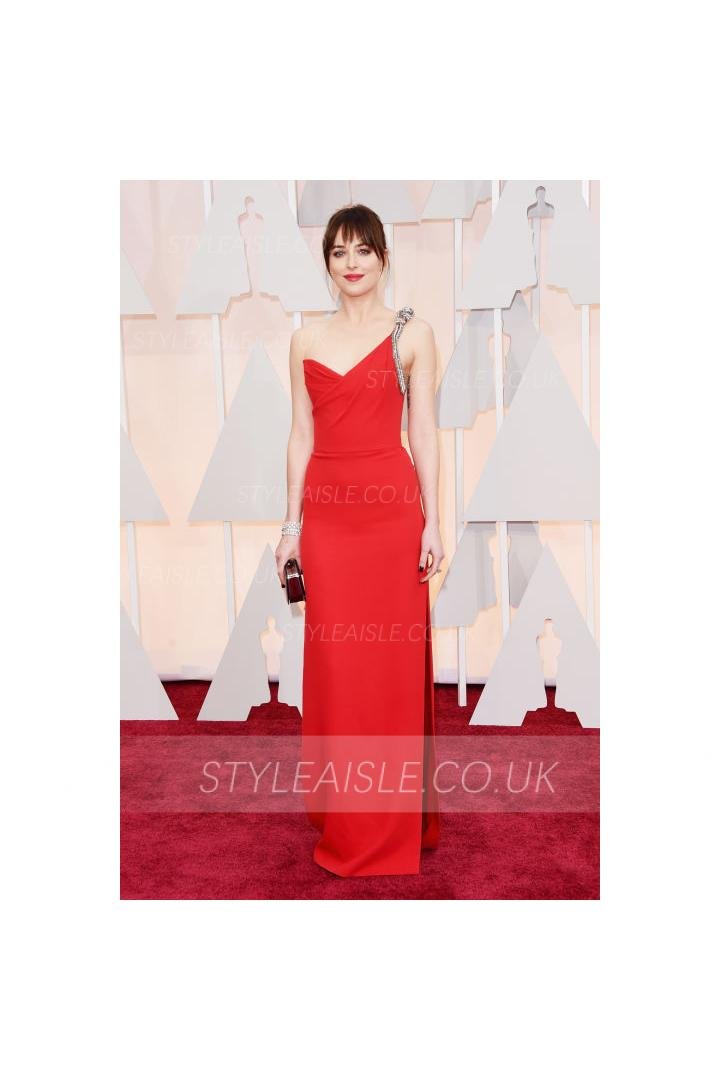 Anne Hathaway Red Carpet One Shoulder Sleeveless Crystal Chiffon Split Prom Dress