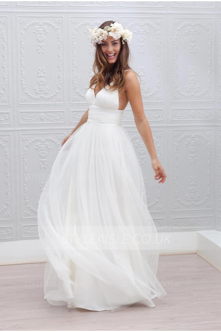 Informal Shoulder Straps Backless Tulle Beach Wedding Dress