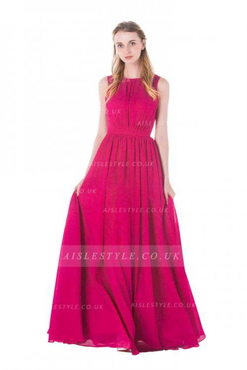 Sleeveless A-line Pleated Long Fuchsia Chiffon Bridesmaid Dress