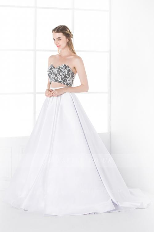 Modern Two Piece Sweetheart Long Princess A-line Satin Wedding Dress