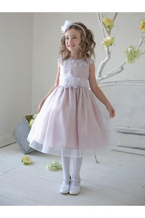 Lace Sleeveless Organza Flowergirl Dresses with Sash