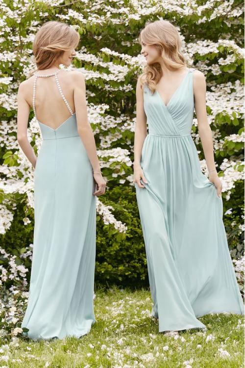 Beaded Back V Neck Pleated Long A-line Chiffon Bridesmaid Dress